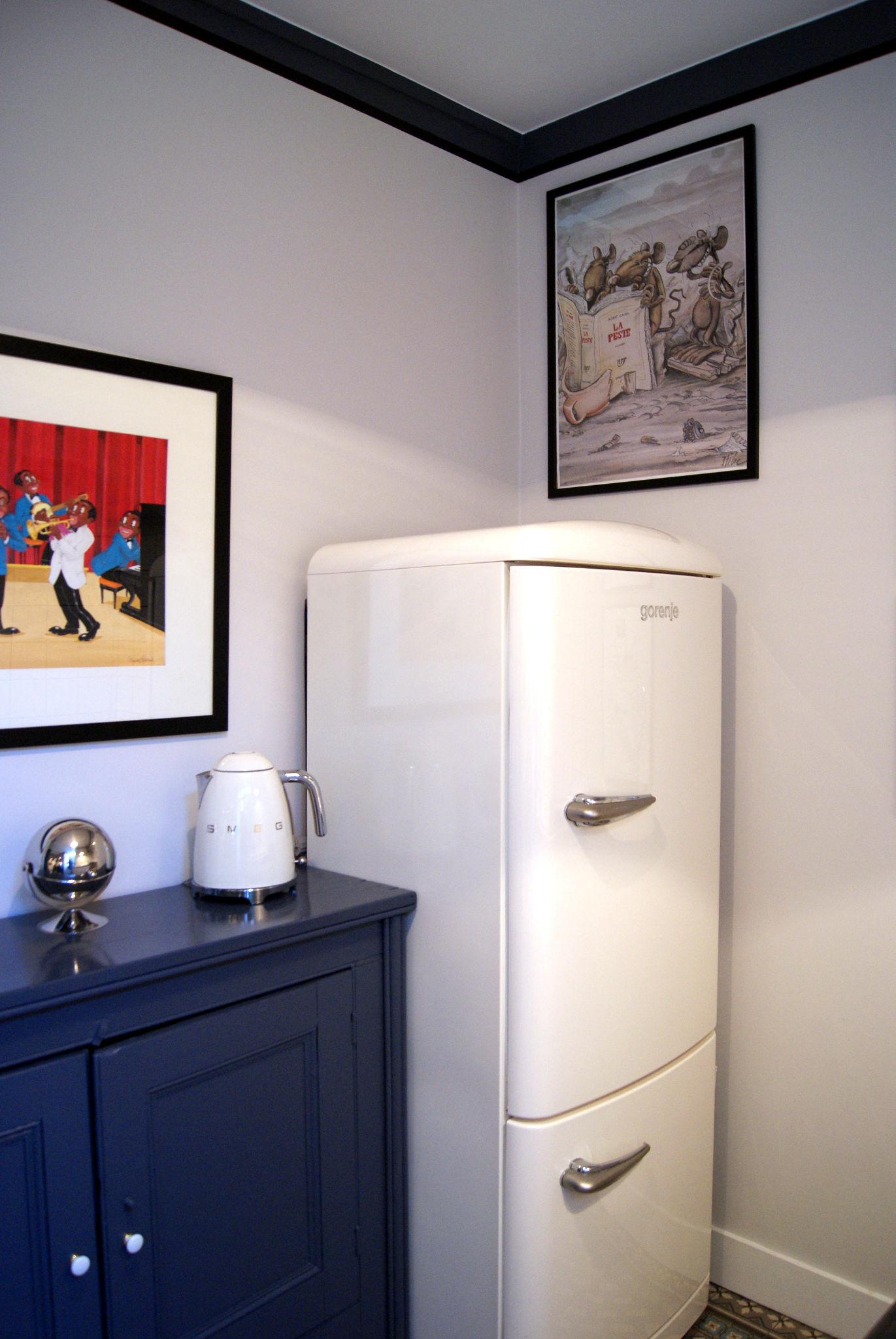 david associÉs | cuisine rétro chic, détail réfrigérateur, meuble